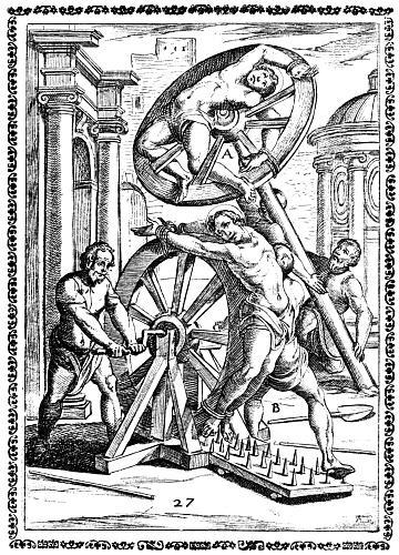 Darstellung der Folter mit einem Rad.